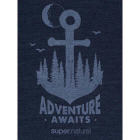 super.natural Graphic Maglia A Maniche Corte Uomo, blue iris melange/skyway adventure awaits